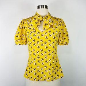 Girls from Savoy Owl Pattern Silk Blouse